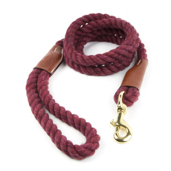 Braided Cotton and Leather Rope Dog Leash - Maroon