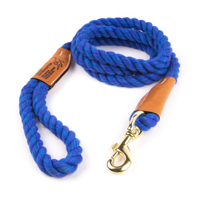 Braided Cotton And Leather Rope Dog Leash - Nautical Blue