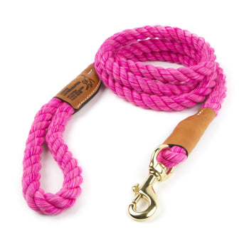 Braided Cotton and Leather Rope Dog Leash - Pink