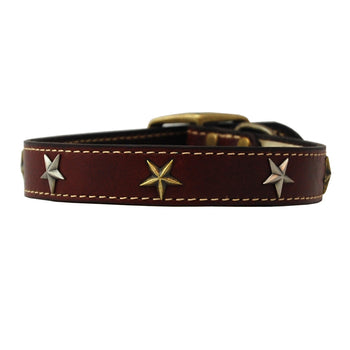 American Classic Vintage Style Leather Dog Collar - Antique Old Glory Stars (Burgundy)