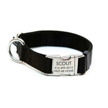 Rita Bean Engraved Buckle Personalized Dog Collar - Nylon Webbing (Black)