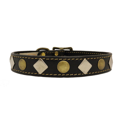 American Classic Vintage Style Leather Dog Collar - Antiqued Studs (Black)
