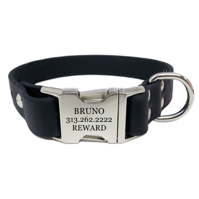 Waterproof Engraved Buckle Dog Collar - Black