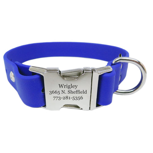 Waterproof Engraved Buckle Dog Collar - Blue