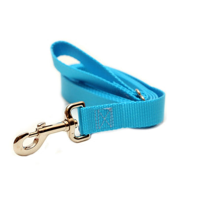 Rita Bean Dog Leash - Nylon Webbing (Turquoise Blue)
