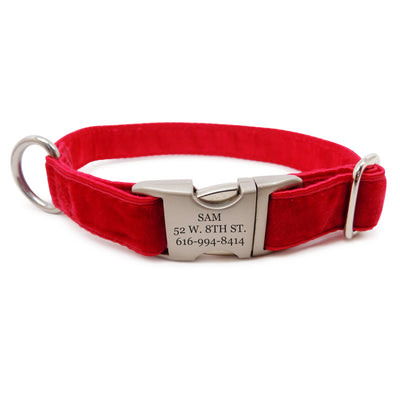 Rita Bean Engraved Buckle Personalized Dog Collar - Velvet (Bright Red)