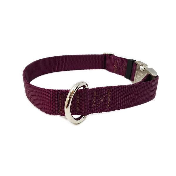 Rita Bean Engraved Buckle Personalized Dog Collar - Nylon Webbing (Burgundy)