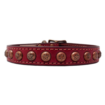 American Classic Vintage Style Leather Dog Collar - Embossed Circle Stars (Burgundy)
