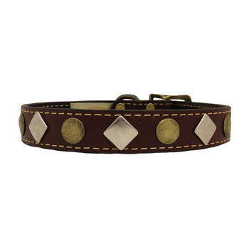 American Classic Vintage Style Leather Dog Collar - Antique Studs (Burgundy)
