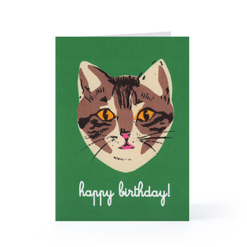 Happy Birthday Blank Card (Green Cat)
