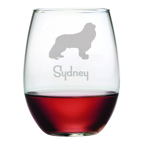 Personalized Dog Breed Stemless Wine Glasses (Set Of Four) - Cavalier King Charles Spaniel