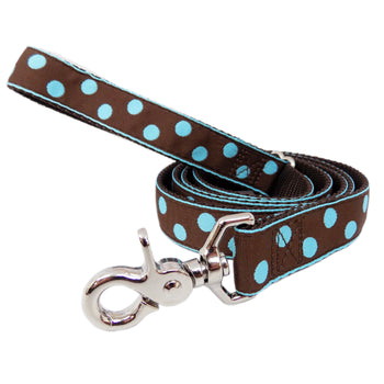 Rita Bean Dog Leash - Dots (Brown & Blue)