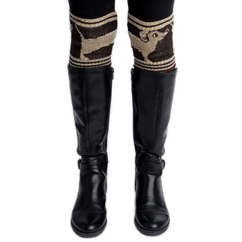 Dachsund Boot Cuffs - Brown