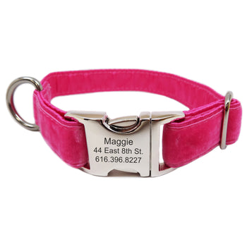 Rita Bean Engraved Buckle Personalized Dog Collar - Velvet (Fruit Punch Pink)