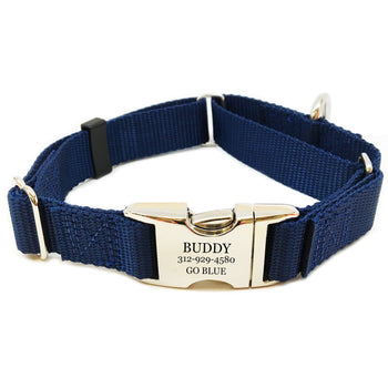 Rita Bean Engraved Buckle Personalized Martingale Style Dog Collar - Nylon Webbing (Dark Blue)