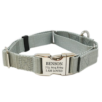 Rita Bean Engraved Buckle Personalized Martingale Style Dog Collar - Nylon Webbing (Gray)