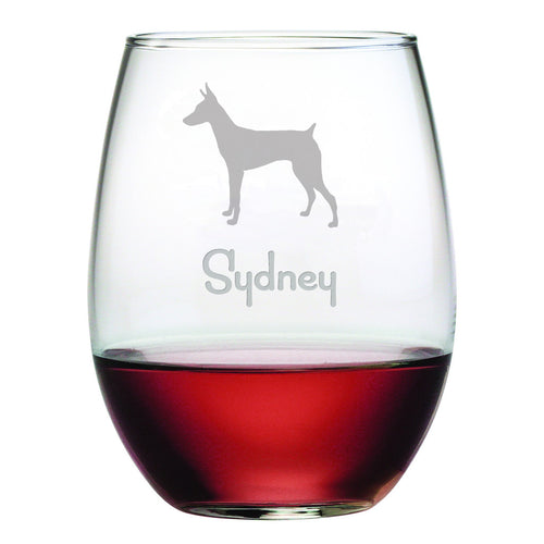 Personalized Dog Breed Stemless Wine Glasses (Set Of Four) - Doberman Pinscher