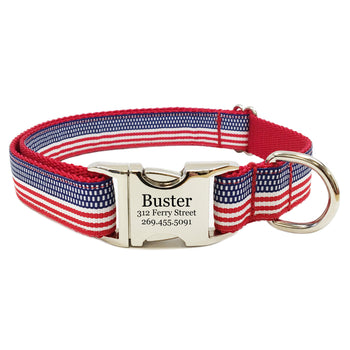 Rita Bean Engraved Buckle Personalized Dog Collar - American Flag