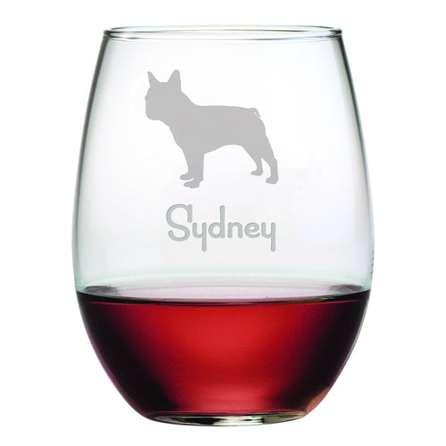 Personalized Dog Breed Stemless Wine Glasses (Set Of Four) - French Bulldog