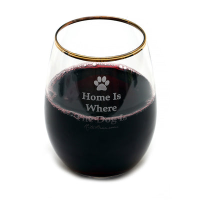 Stemless Wine Glasses (Gold Rimmed) - Home Is Where The Dog Is (Set Of Four)