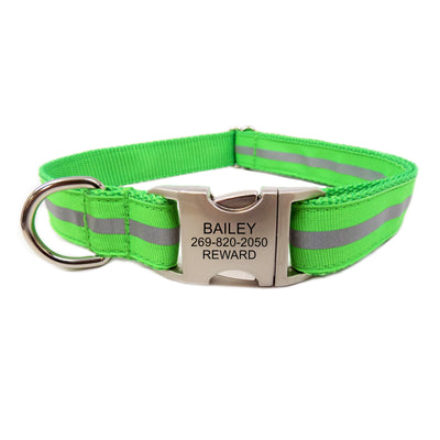 Rita Bean Engraved Buckle Personalized Dog Collar - Reflective Stripe (Neon Green)