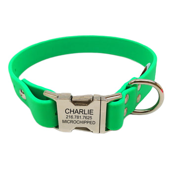 Waterproof Engraved Buckle Dog Collar - Green