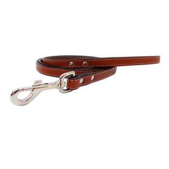 Heavy Duty Leather Dog Leash - Chestnut Brown