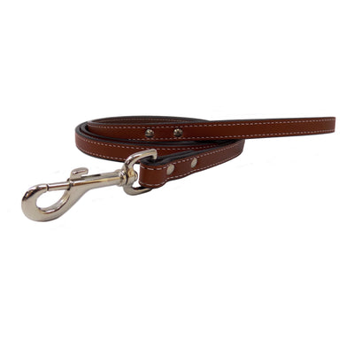 Heavy Duty Leather Dog Leash - Mahogany