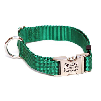 Rita Bean Engraved Buckle Personalized Dog Collar - Nylon Webbing (Hunter Green)