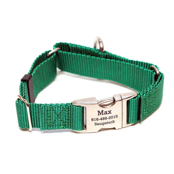 Rita Bean Engraved Buckle Personalized Martingale Style Dog Collar - Nylon Webbing (Hunter Green)