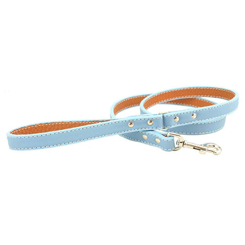Rita Bean Italian Leather Dog Leash - Light Blue