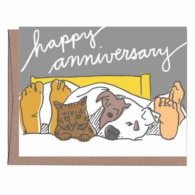 Happy Anniversary Card (Pets In Bed)