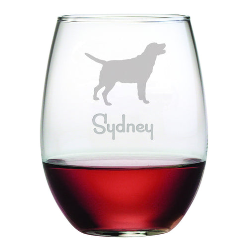 Personalized Dog Breed Stemless Wine Glasses (Set Of Four) - Labrador Retriever