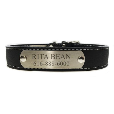 Italian Leather Dog Collar With Engraved Nameplate - Black