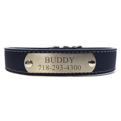 Italian Leather Dog Collar With Engraved Nameplate - Dark Blue
