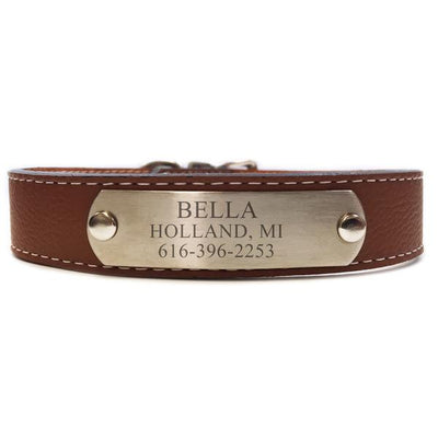 Italian Leather Dog Collar With Engraved Nameplate - Brown