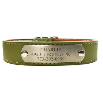 Italian Leather Dog Collar With Engraved Nameplate - Green