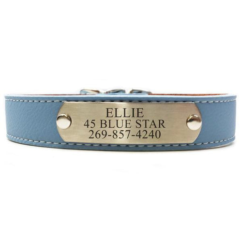 Italian Leather Dog Collar With Engraved Nameplate - Light Blue