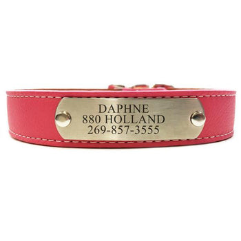 Italian Leather Dog Collar With Engraved Nameplate - Pink