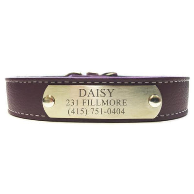 Italian Leather Dog Collar With Engraved Nameplate - Purple