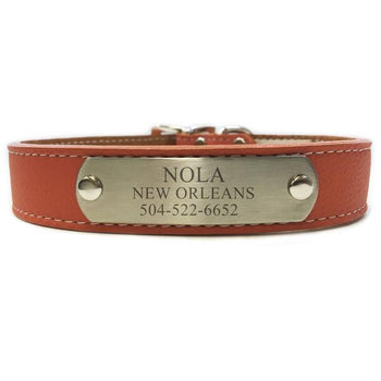 Italian Leather Dog Collar With Engraved Nameplate - Terracotta