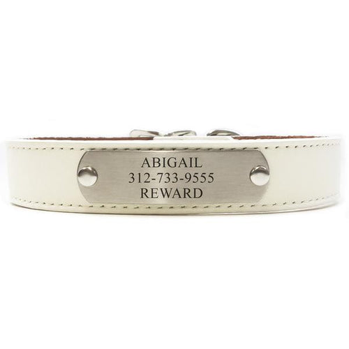 Italian Leather Dog Collar With Engraved Nameplate - White