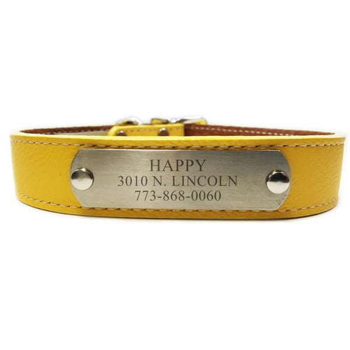 Italian Leather Dog Collar With Engraved Nameplate - Yellow