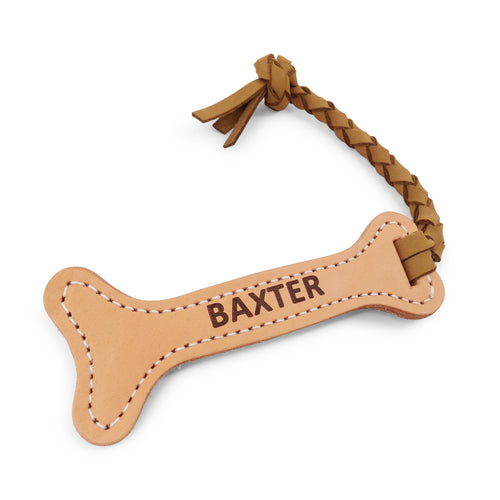 Rita Bean Personalized Leather Fetch Dog Toy - Bone