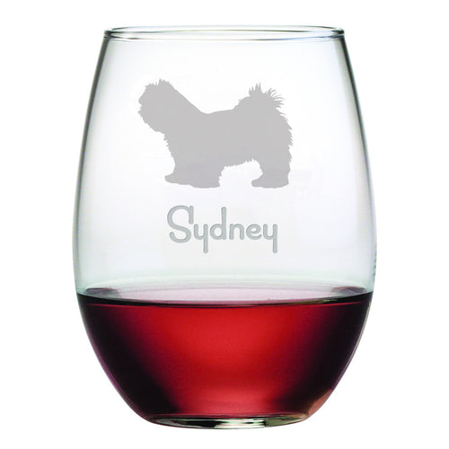Personalized Dog Breed Stemless Wine Glasses (Set Of Four) - Lhasa Apso