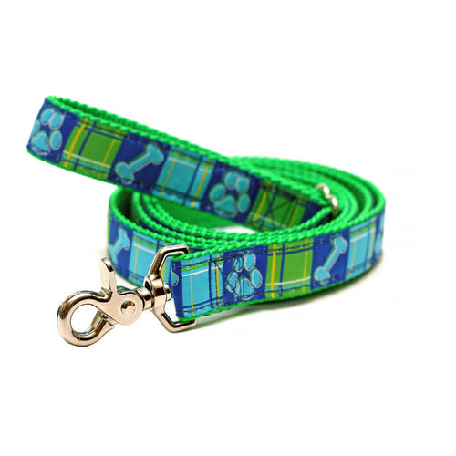 Rita Bean Dog Leash - Prep School Madras (Blue/Green)