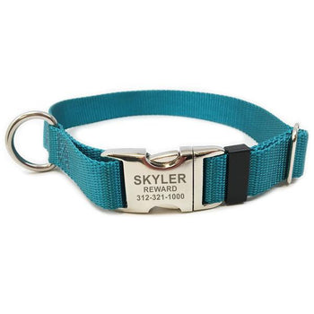 Rita Bean Engraved Buckle Personalized Dog Collar - Nylon Webbing (Marine Blue)