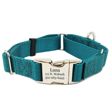 Rita Bean Engraved Buckle Personalized Martingale Style Dog Collar - Nylon Webbing (Marine Blue)