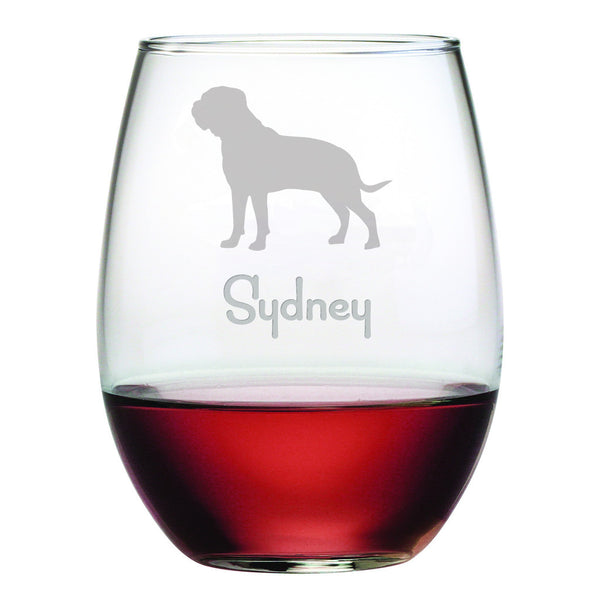 Personalized Dog Breed Stemless Wine Glasses (Set Of Four) - Mastiff