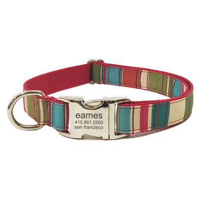 Rita Bean Engraved Buckle Personalized Dog Collar - Mod Stripe (Red)